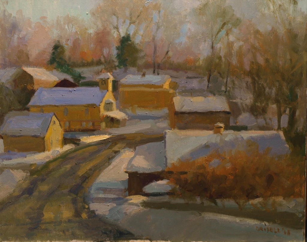 New Preston in Winter, Oil on Canvas, 16 x 20 Inches, by Susan Grisell, $650