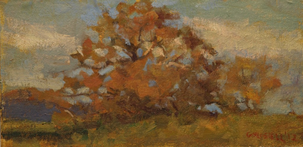 Oak, Open Field, Oil on Canvas on Panel, 6 x 12 Inches, by Susan Grisell, $150