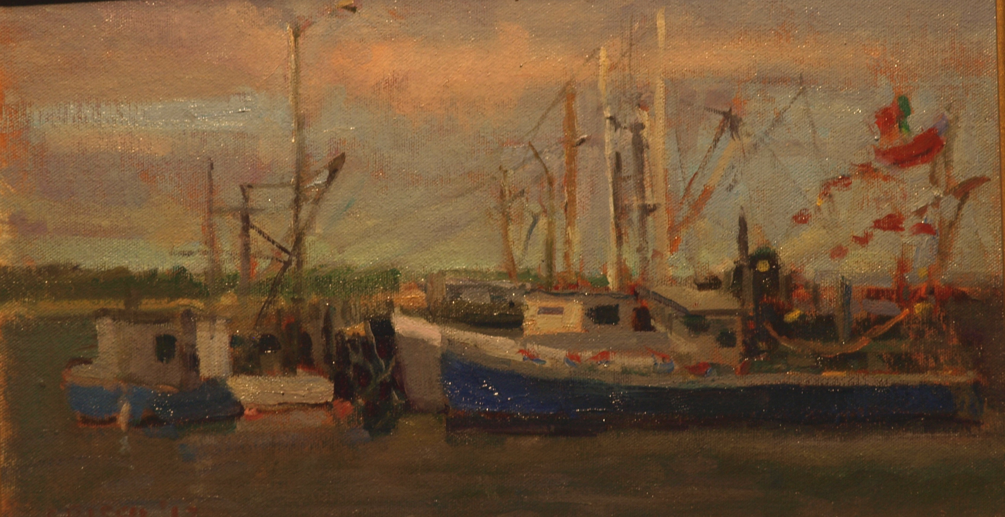 Boats and Pennants, Oil on Canvas on Panel, 9 x 16 Inches, by Susan Grisell, $250