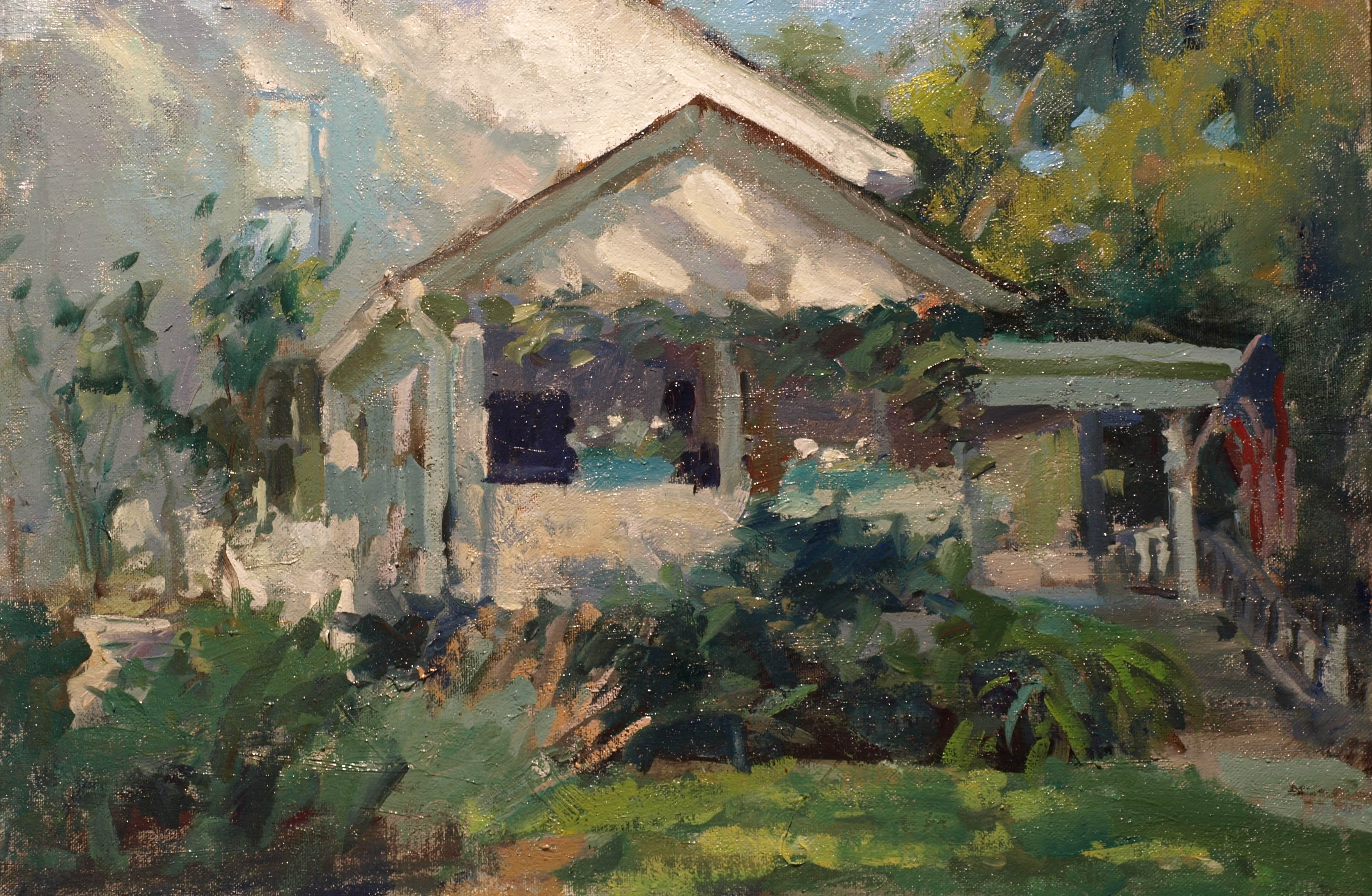 Front Porch, Oil on Canvas on Panel, 12 x 18 Inches, by Susan Grisell, $325