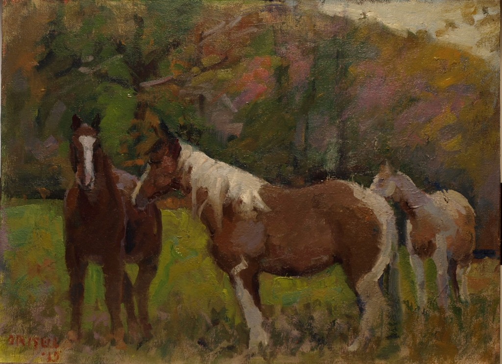 Horses, Oil on Canvas on Panel, 12 x 16 Inches, by Susan Grisell, $275