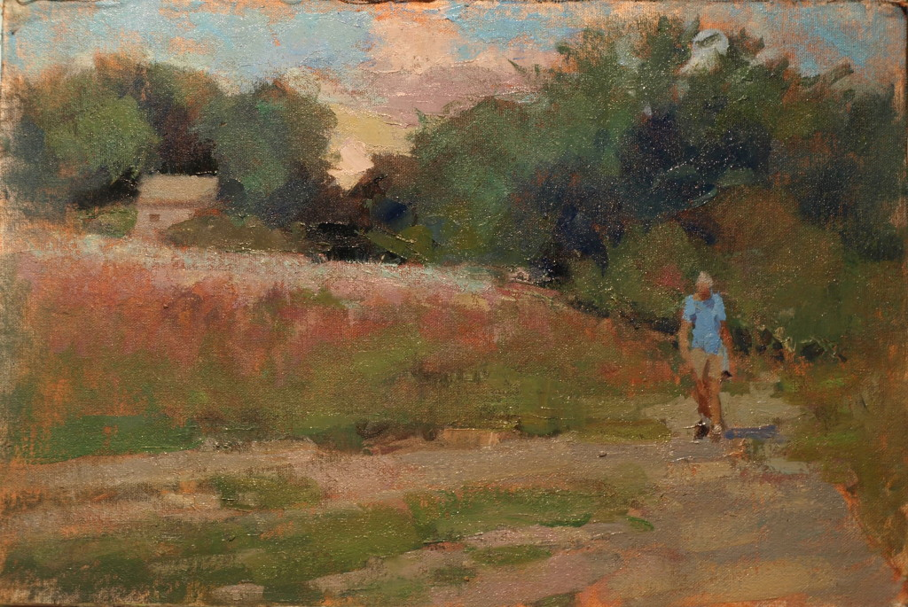 Afternoon Walk, Oil on Canvas on Panel, 12 x 18 Inches, by Susan Grisell, $300