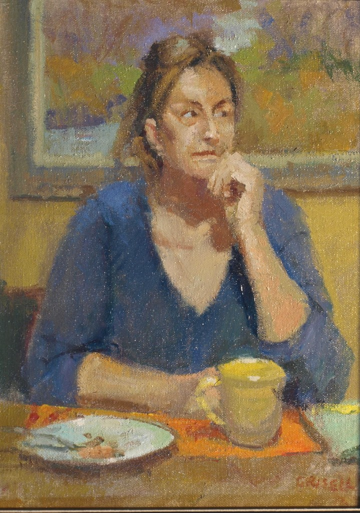 Cup of Tea, Oil on Canvas on Panel, 16 x 12 Inches, by Susan Grisell, $325