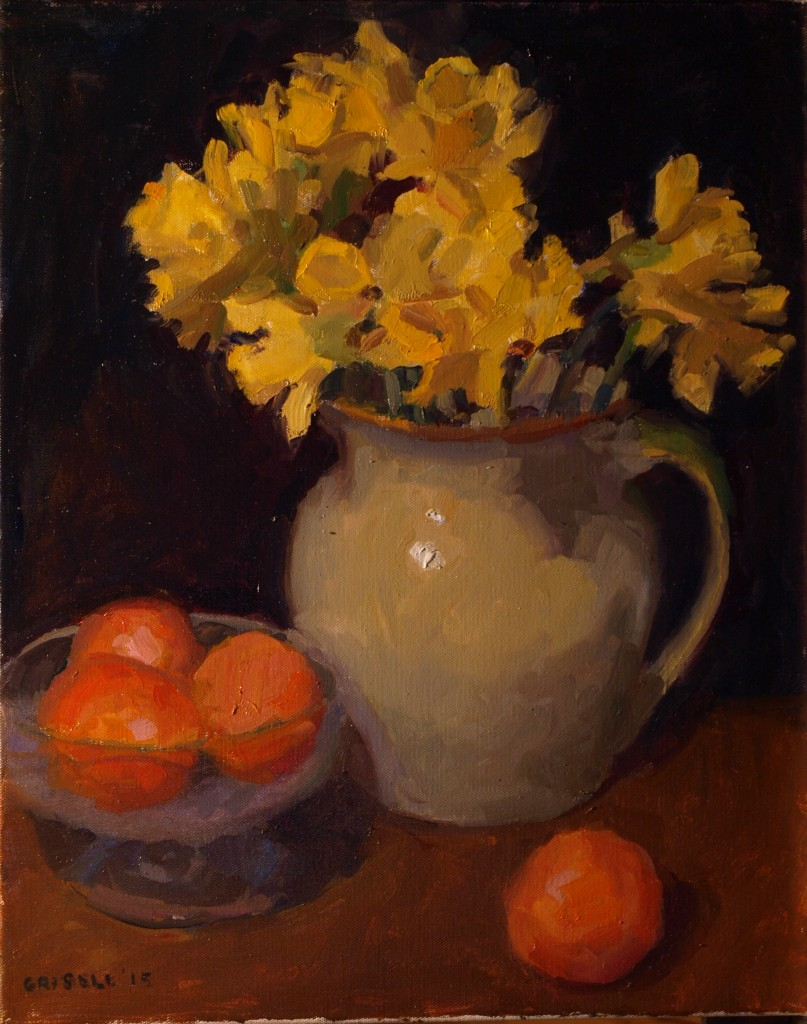Daffodils and Oranges, Oil on Canvas, 20 x 16 Inches, by Susan Grisell, $525