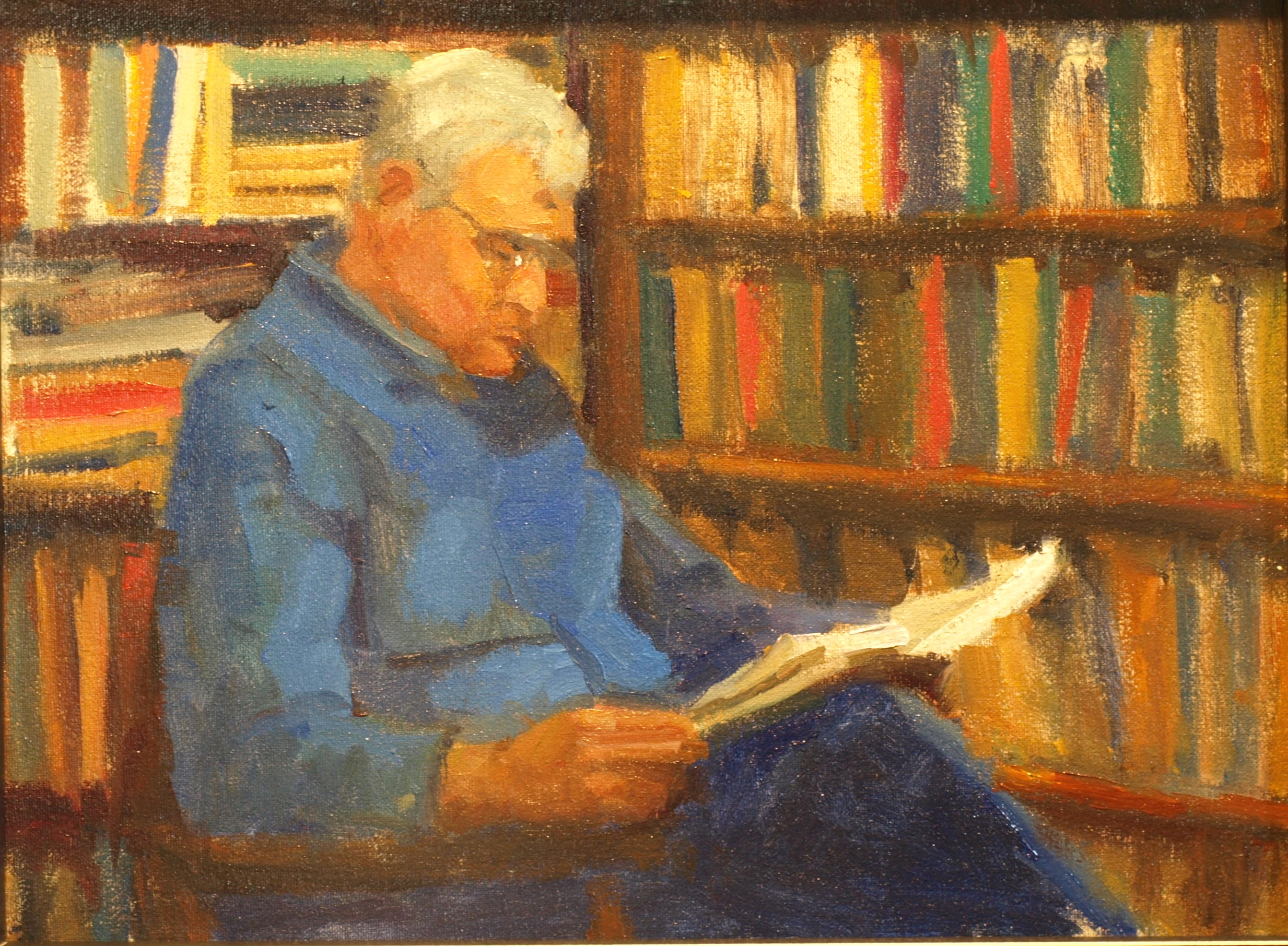 Library, Oil on Canvas on Panel, 12 x 16 Inches, by Susan Grisell, $325