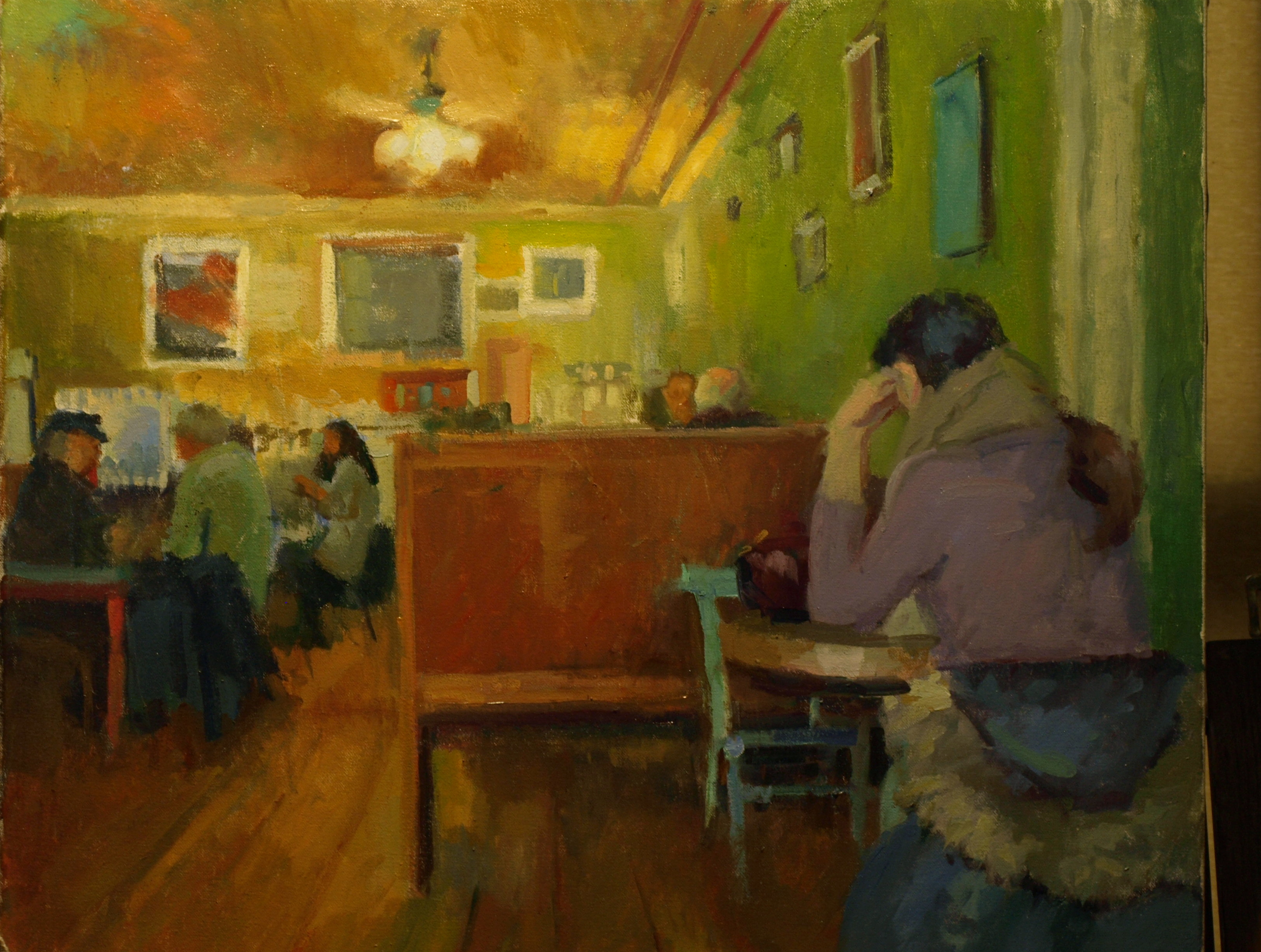 Bank Street Coffee House, Oil on Canvas, 20 x 24 Inches, by Susan Grisell, $750