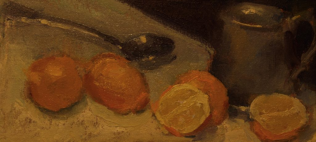 Lemons with Pewter Mug, Oil on Canvas on Panel, 6 x 12 Inches, by Susan Grisell, $200