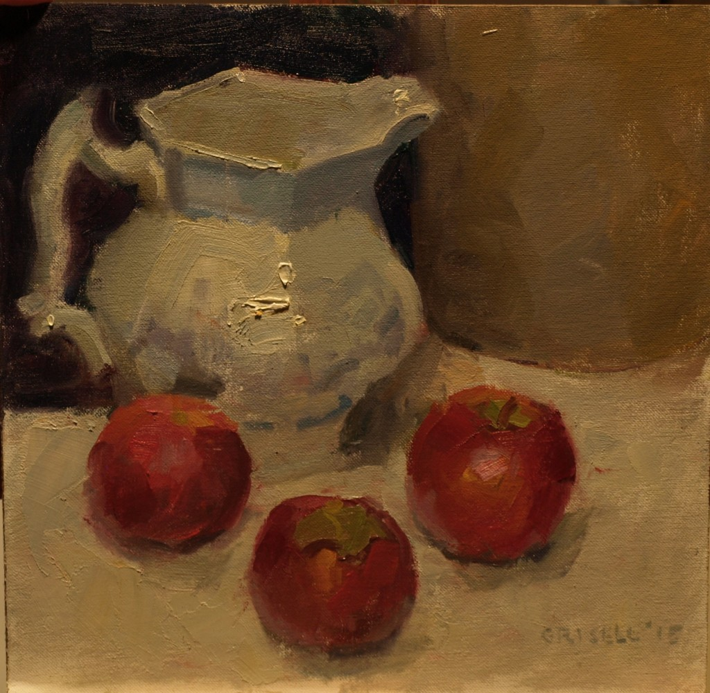 Pitcher and Apples, Oil on Canvas on Panel, 12 x 12 Inches, by Susan Grisell, $250