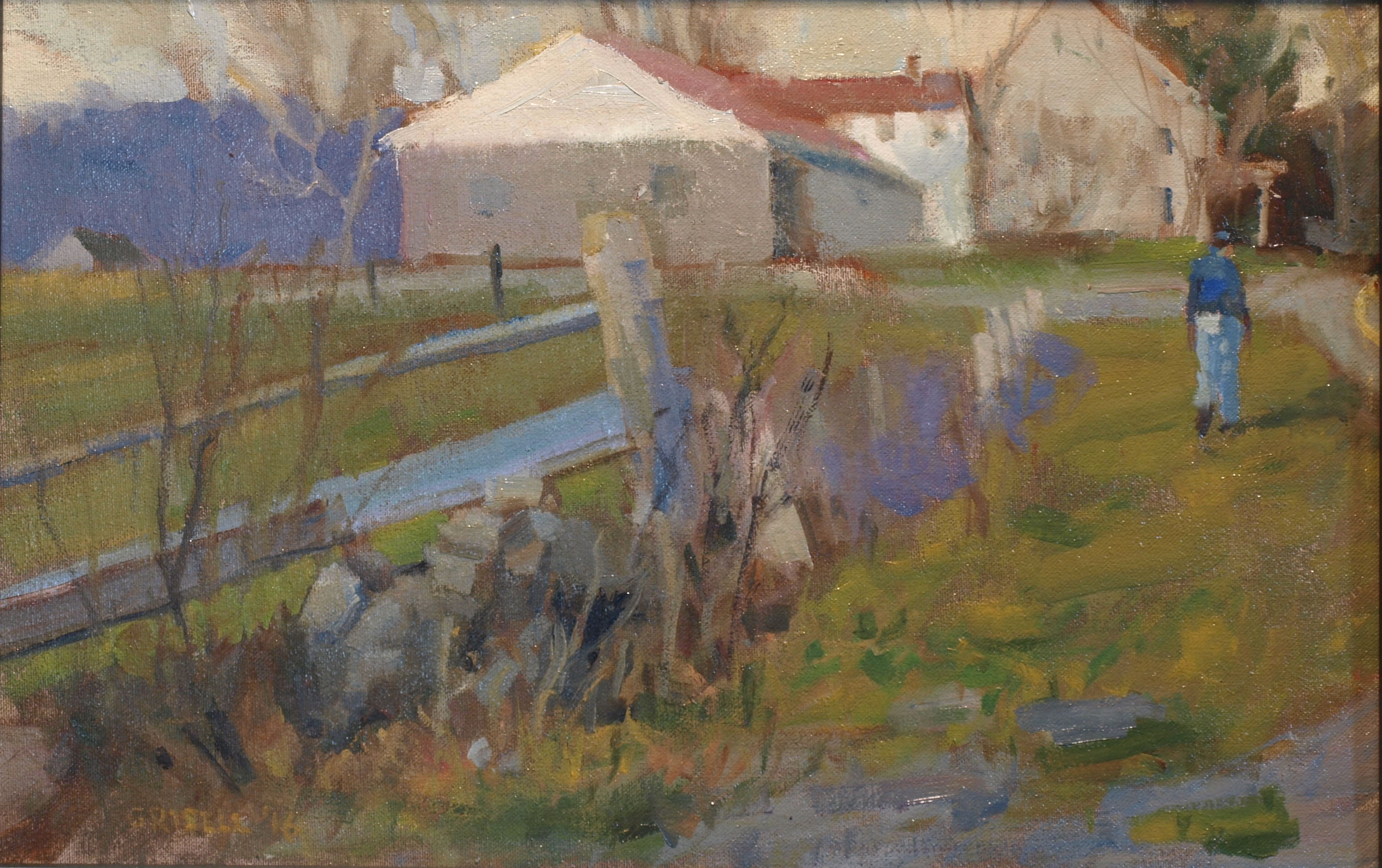 Farmhouse Warren, Oil on Canvas on Panel, 12 x 18 Inches, by Susan Grisell, $315