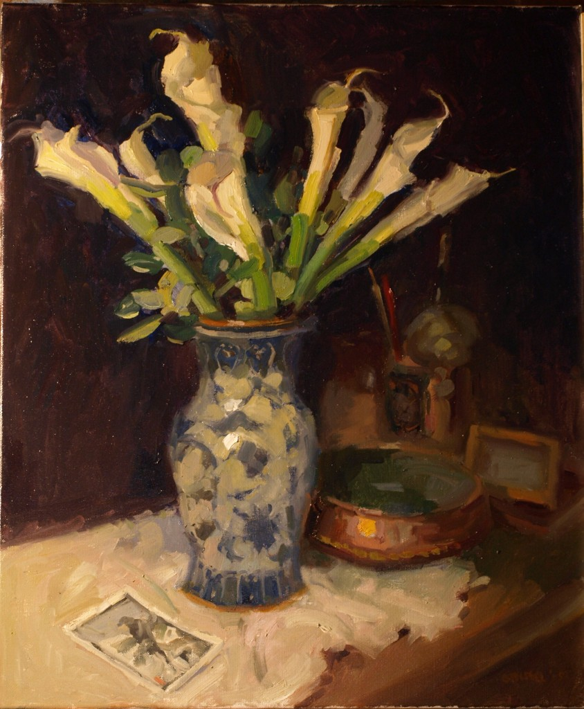 Still Life with Callas, Oil on Canvas, 24 x 20 Inches, by Susan Grisell, $800