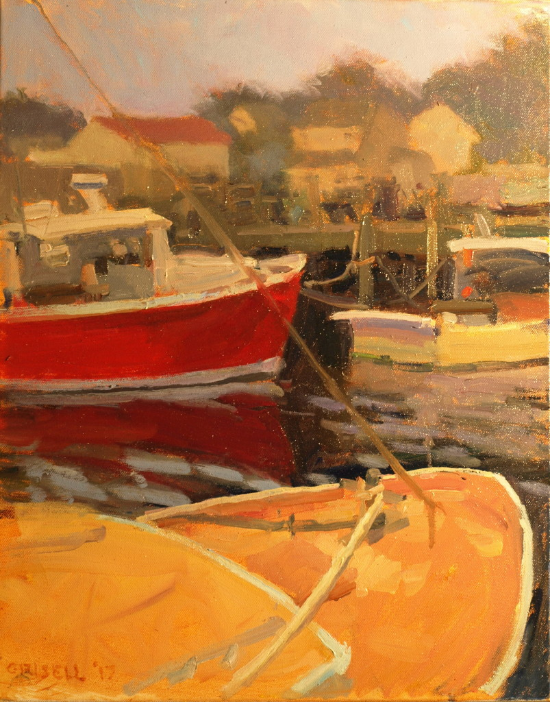 Three Boats, Oil on Canvas, 20 x 16 Inches, by Susan Grisell, $500
