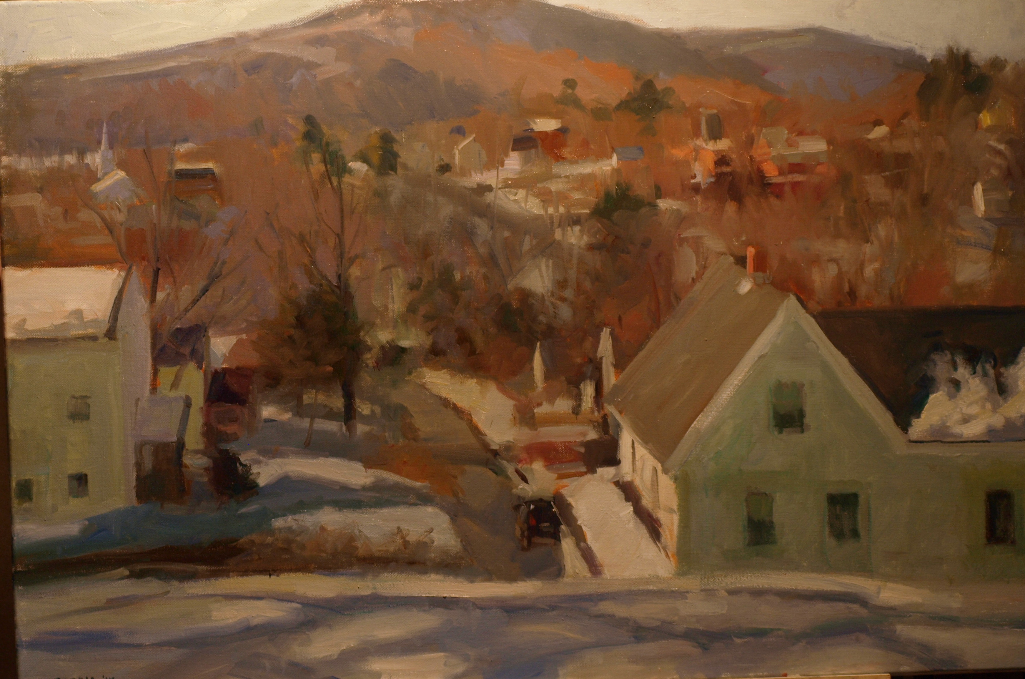 New Milford Hills, Oil on Canvas, 24 x 36 Inches, by Susan Grisell, $1500