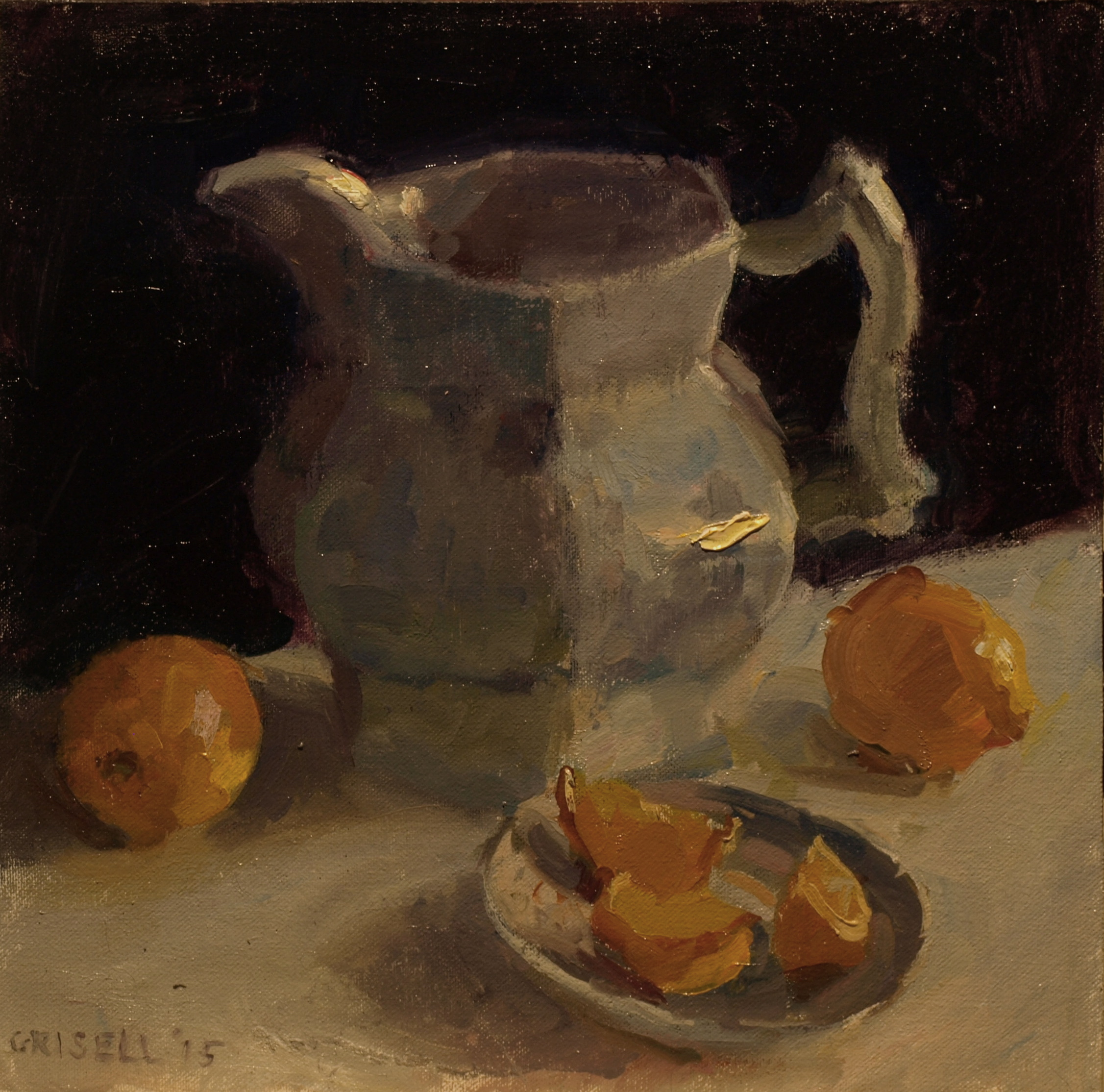 Pitcher and Lemons, Oil on Canvas on Panel, 12 x 12 Inches, by Susan Grisell, $275
