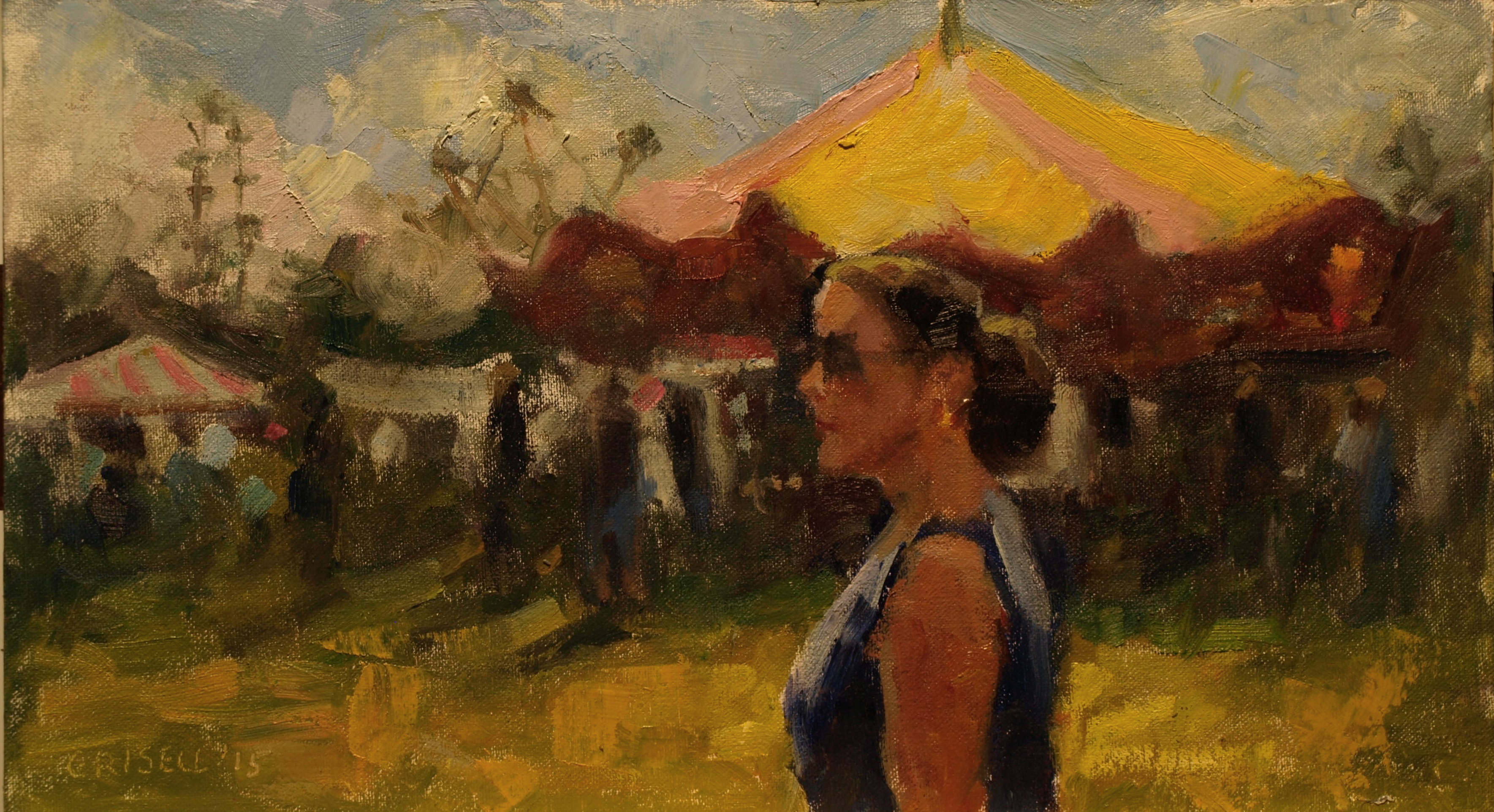 Bridgewater Fair, Oil on Canvas on Panel, 9 x 16 Inches, by Susan Grisell, $275