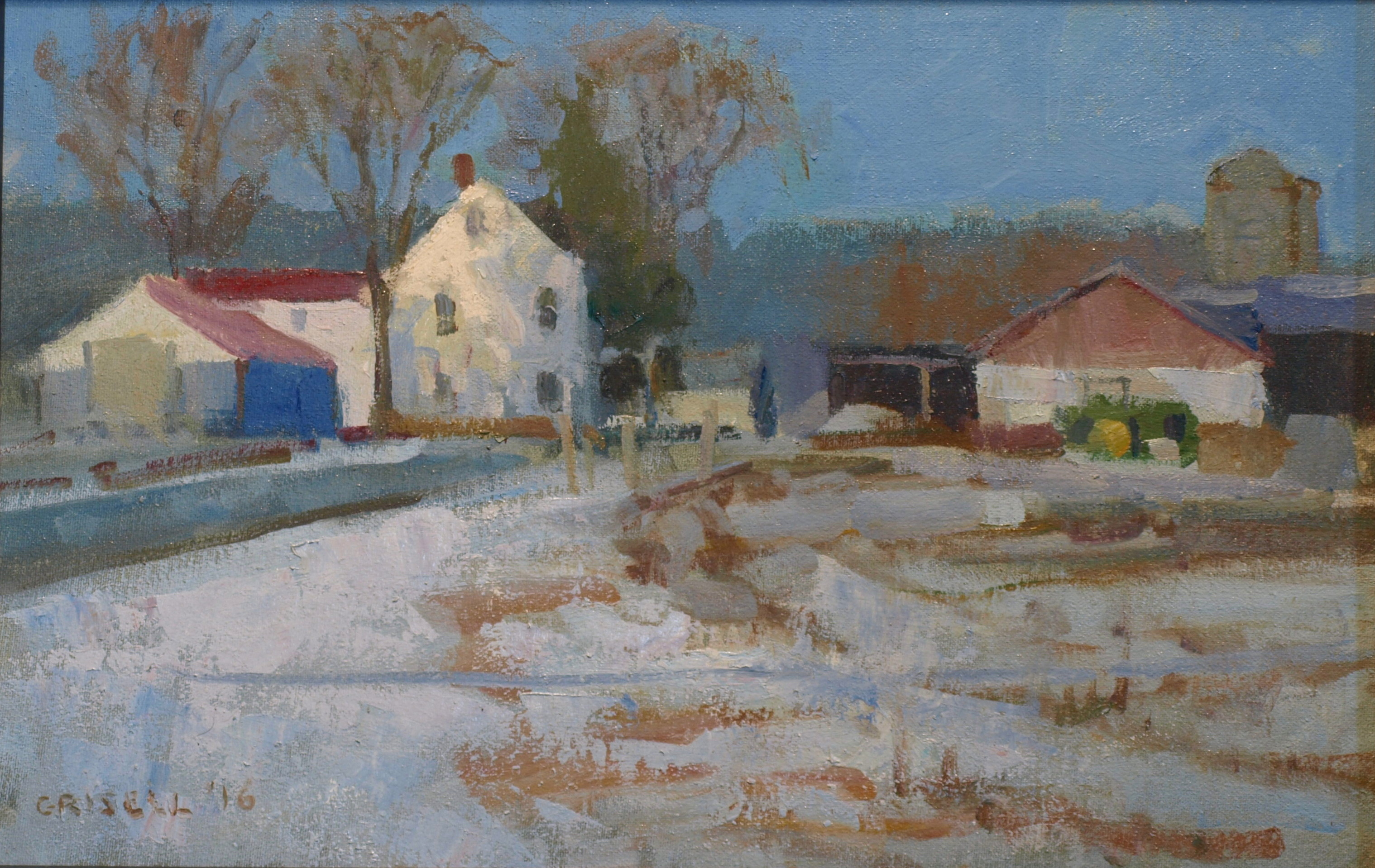 Farm in Snow, Oil on Canvas on Panel, 12 x 18 Inches, by Susan Grisell, $325