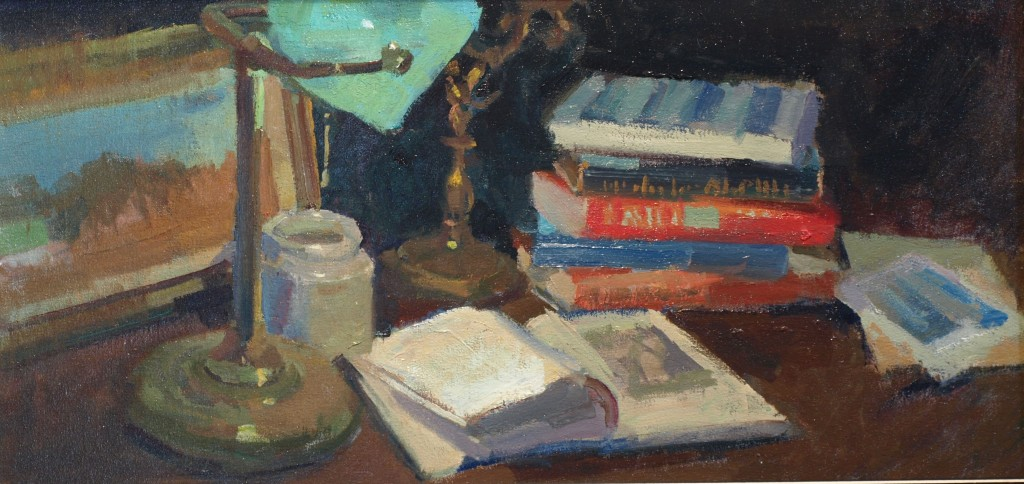 Books and Lamp, Oil on Canvas on Panel, 12 x 24 Inches, by Susan Grisell, $550