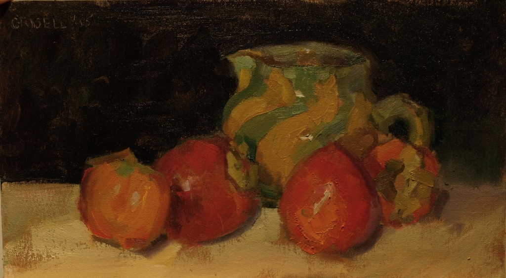 Pitcher and Persimmons, Oil on Canvas on Panel, 9 x 16 Inches, by Susan Grisell, $275