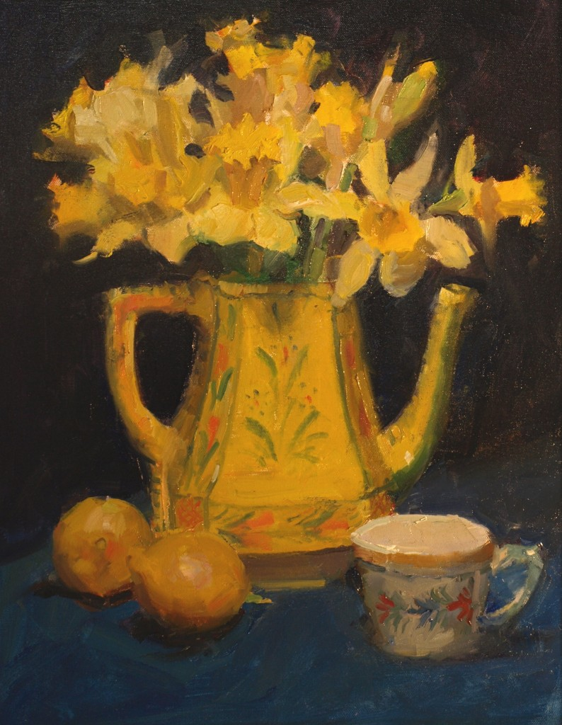 Daffodils and Quimper, Oil on Canvas, 20 x 16 Inches, by Susan Grisell, $550