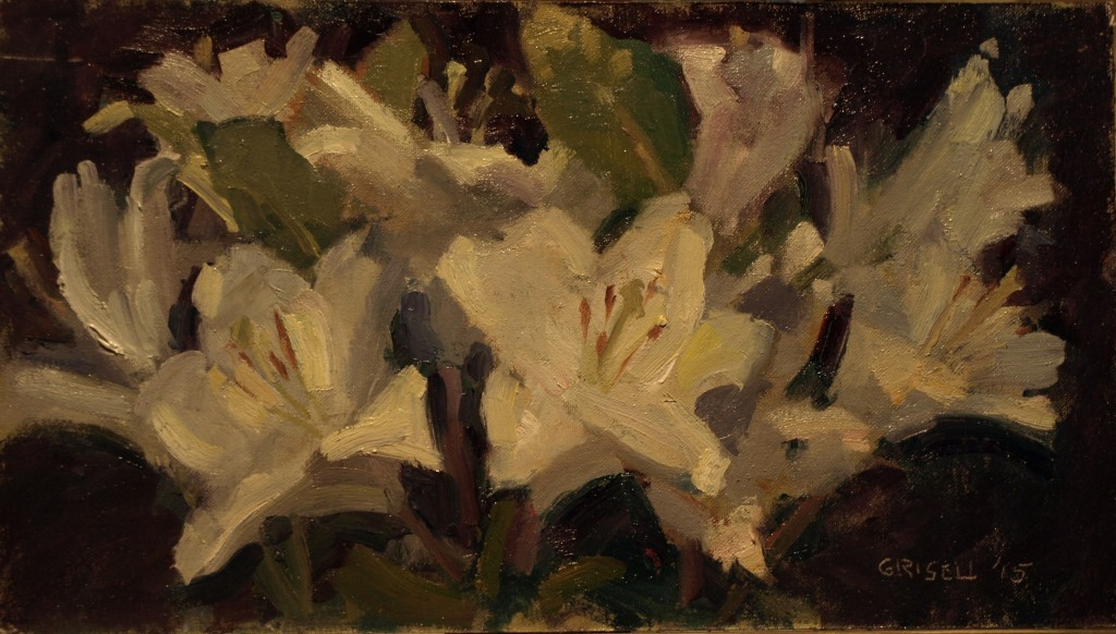 White Lilies, Oil on Canvas on Panel, 9 x 16 Inches, by Susan Grisell, $275