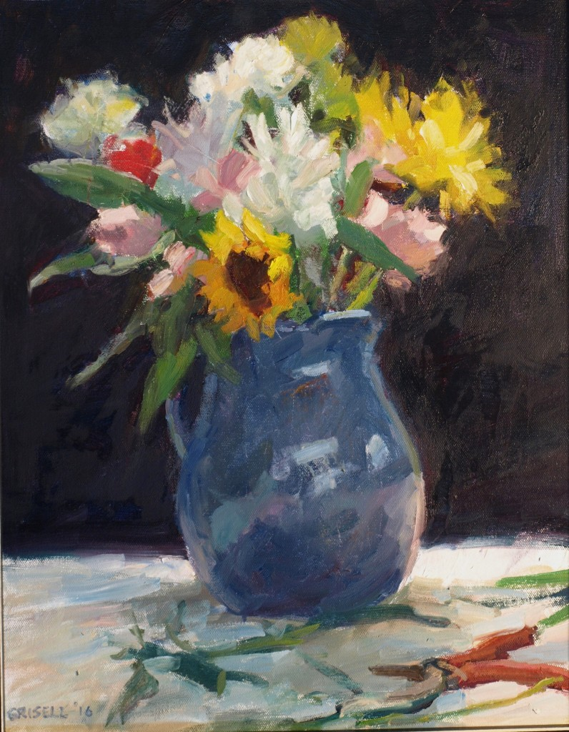 Flowers and Blue Pitcher, Oil on Canvas, 20 x 16 Inches, by Susan Grisell, $550