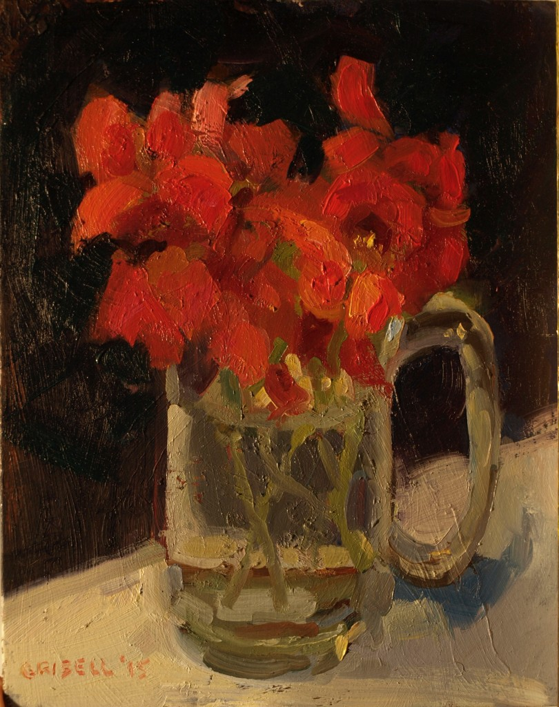 Nasturtiums in Mug, Oil on Panel, 10 x 8 Inches, by Susan Grisell, $200