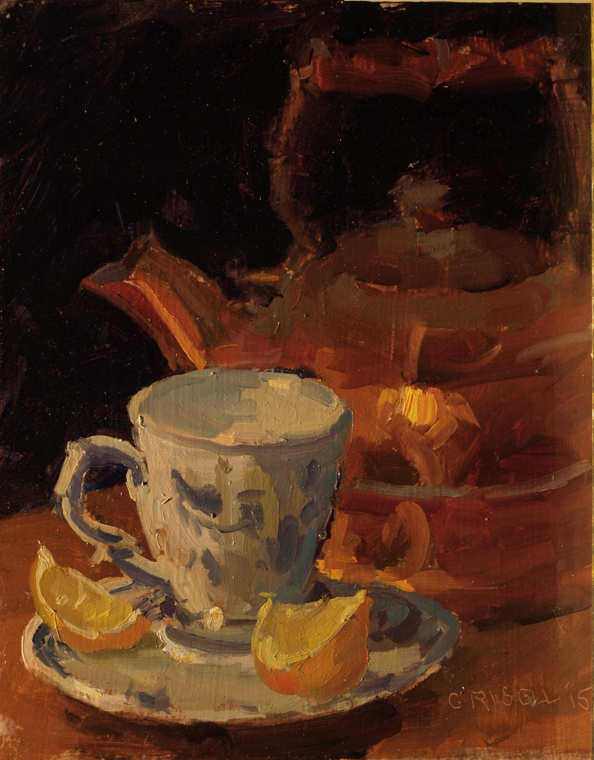 Cup and Copper Teapot, Oil on Panel, 10 x 8 Inches, by Susan Grisell, $200