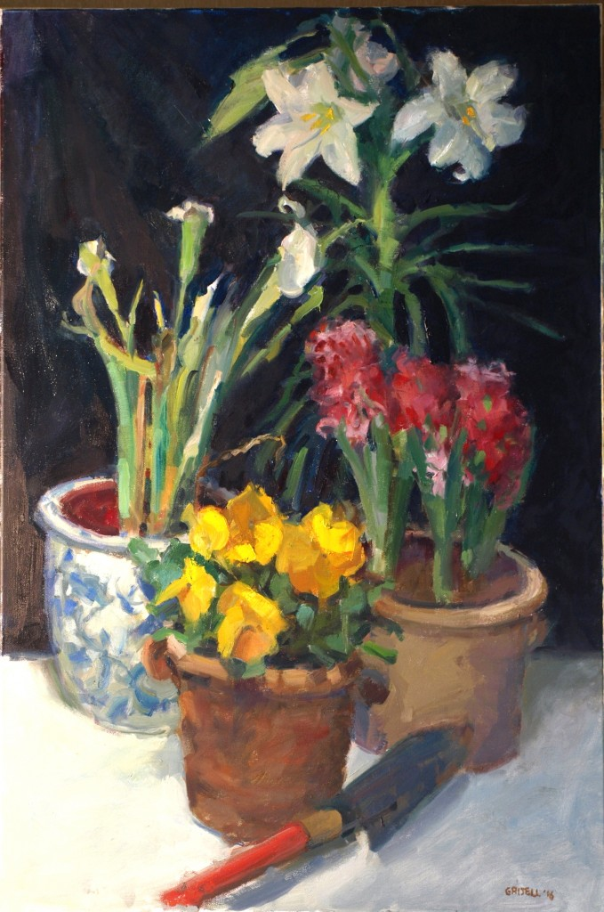 Spring Blooms, Oil on Canvas, 36 x 24 Inches, by Susan Grisell, $1600