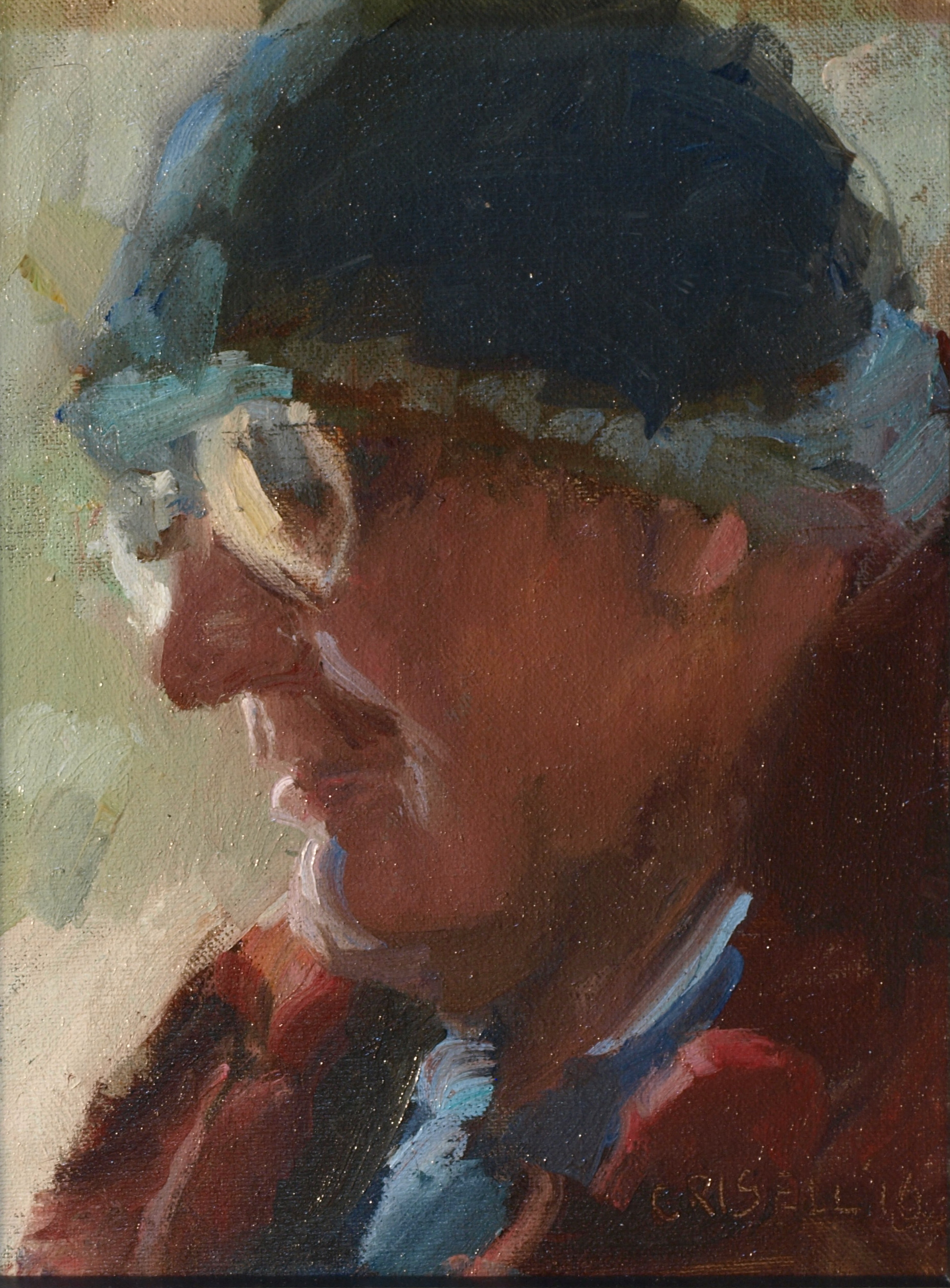Knitted Hat, Oil on Canvas on Panel, 10 x 8 Inches, by Susan Grisell, $150