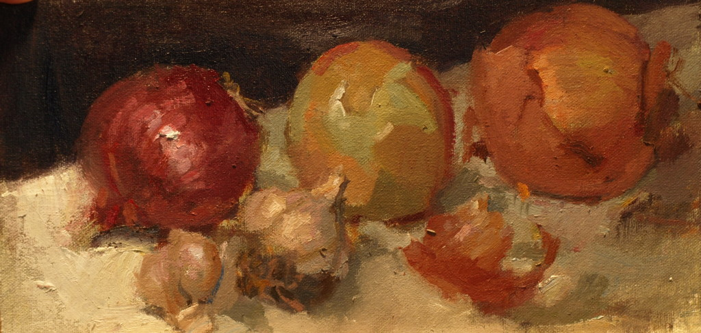 Onions and Garlic, Oil on Canvas on Panel, 6 x 12 Inches, by Susan Grisell, $200