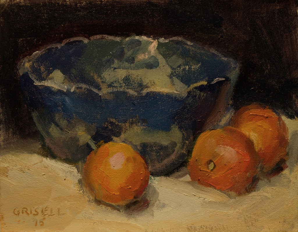 Oranges and Blue Bowl, Oil on Canvas on Panel, 8 x 10 Inches, by Susan Grisell, $200
