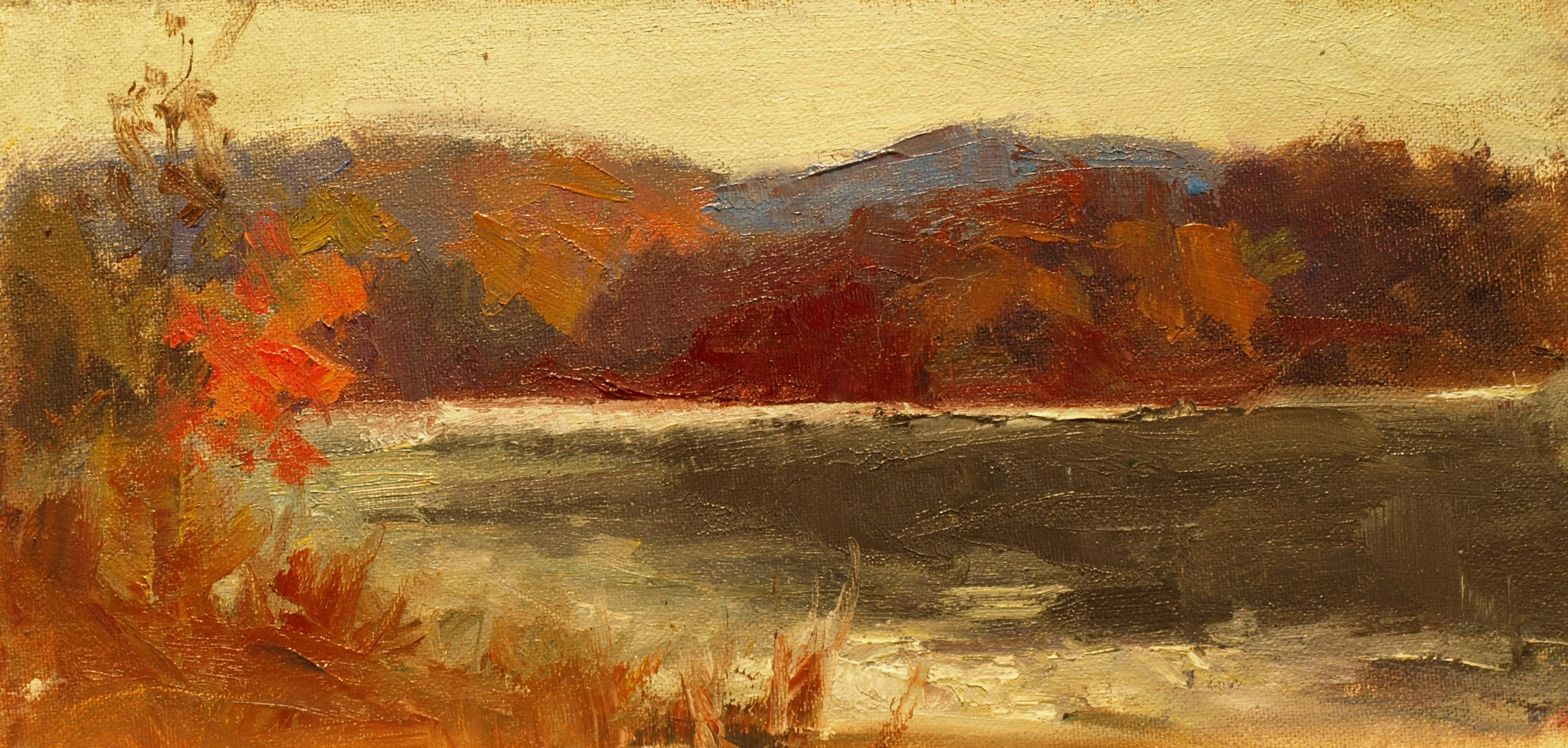 Red Tree, Oil on Canvas on Panel, 6 x 12 Inches, by Susan Grisell, $200