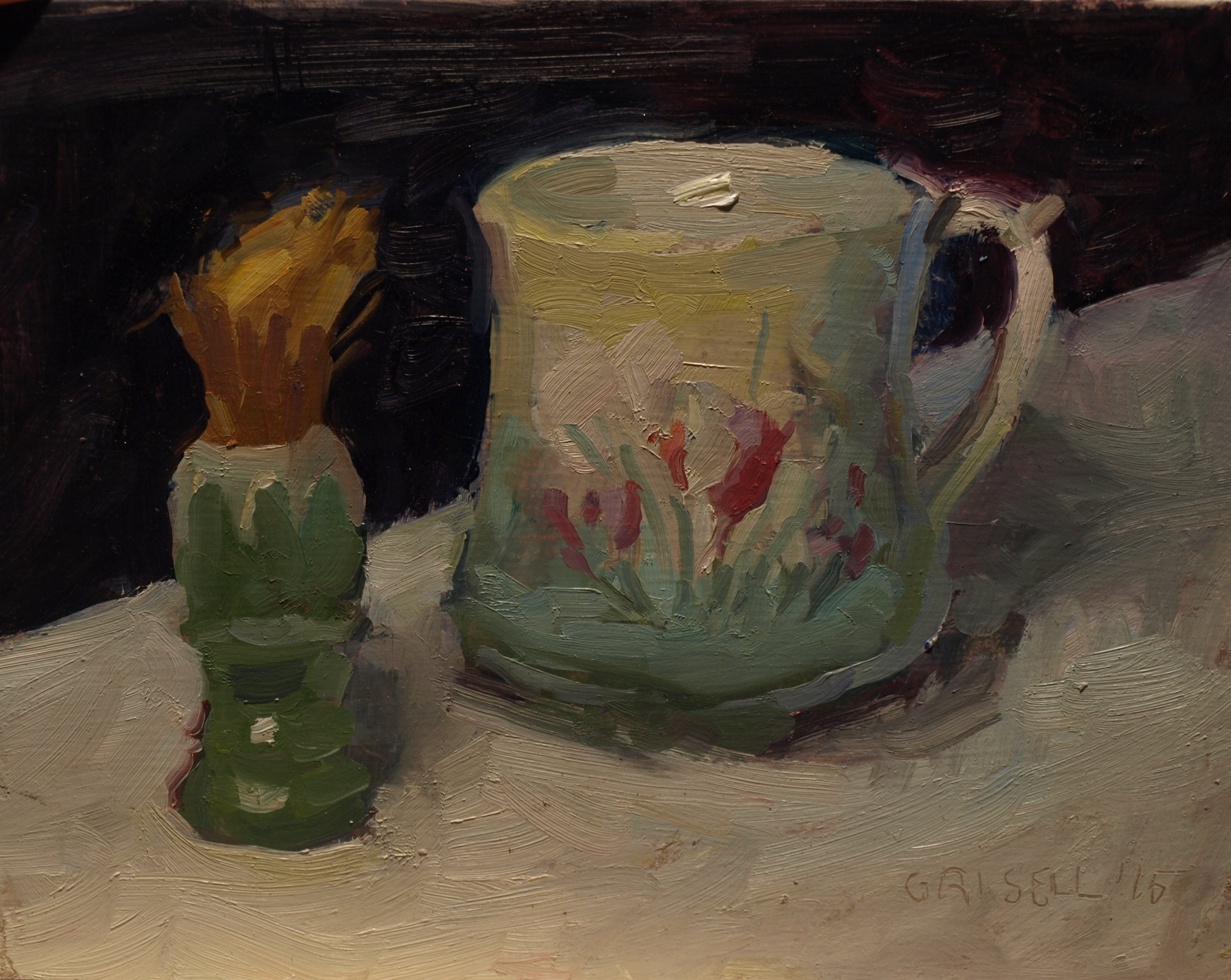 Shaving Mug, Oil on Panel, 8 x 10 Inches, by Susan Grisell, $200