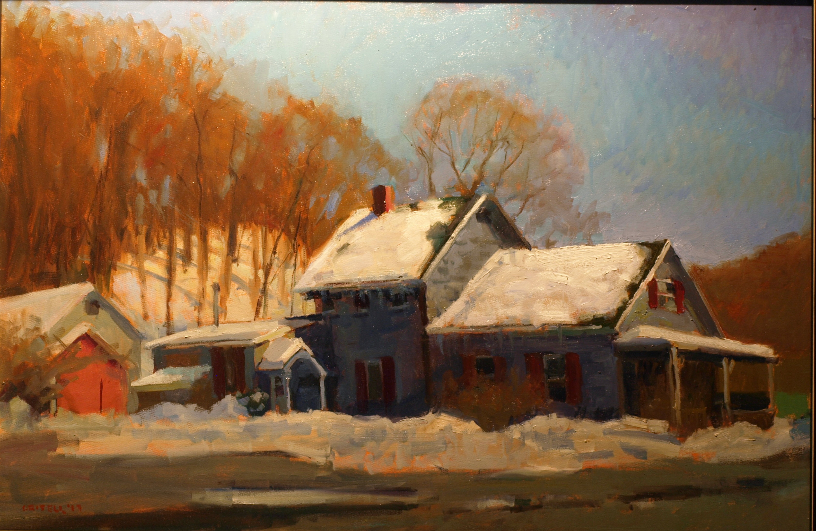 The Last Snow, Oil on Canvas, 24 x 36 Inches, by Susan Grisell, $1500