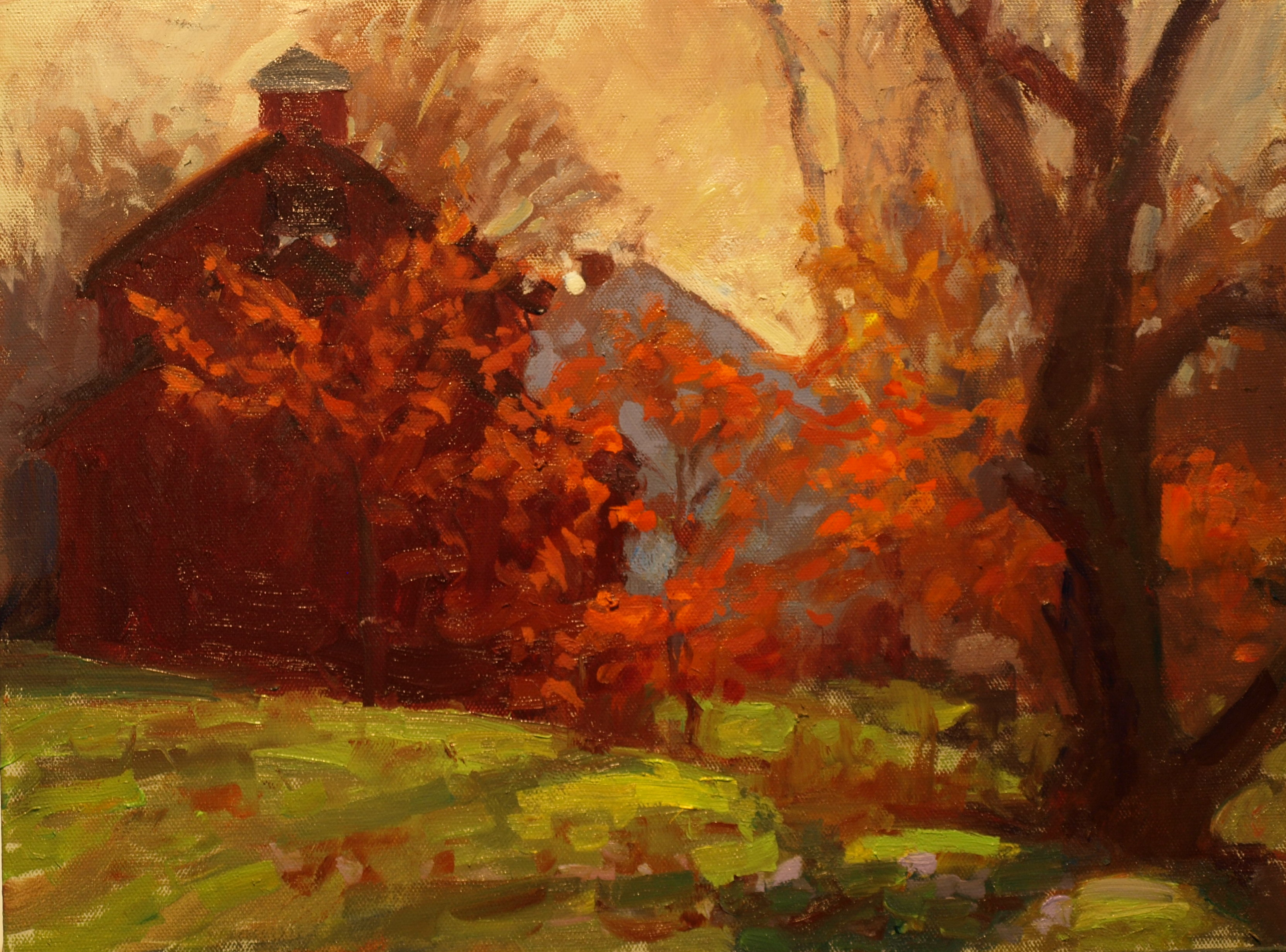 Chestnut Leaves, Oil on Panel, 12 x 16 Inches, by Susan Grisell, $300