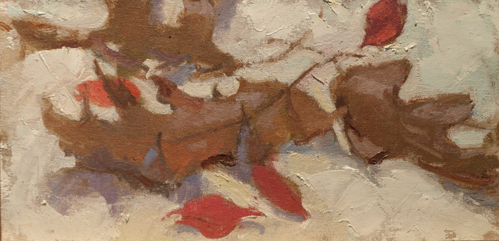 Leaves, Oil on Canvas on Panel, 6 x 12 Inches, by Susan Grisell, $175