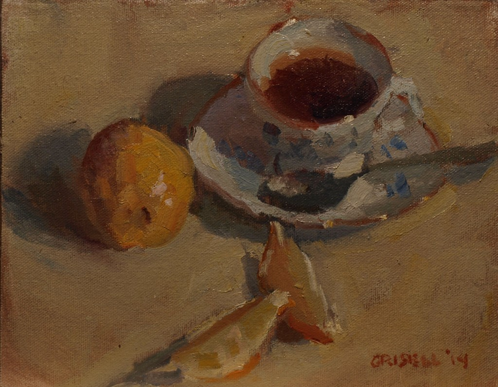 Tea with Lemmon, Oil on Canvas on Panel, 8 x 10 Inches, by Susan Grisell, $200