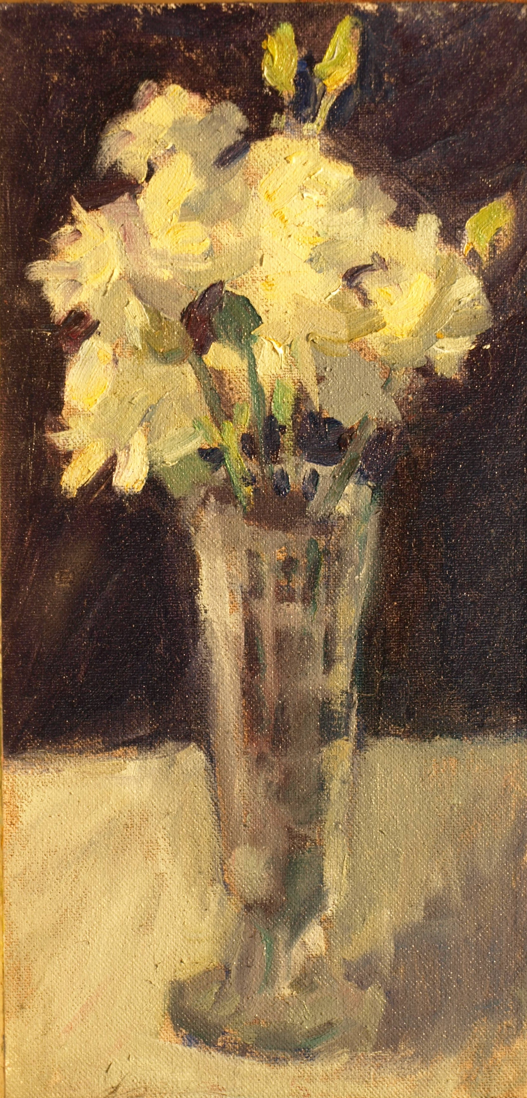 Carnations, Oil on Canvas on Panel, 12 x 6 Inches, by Susan Grisell, $200