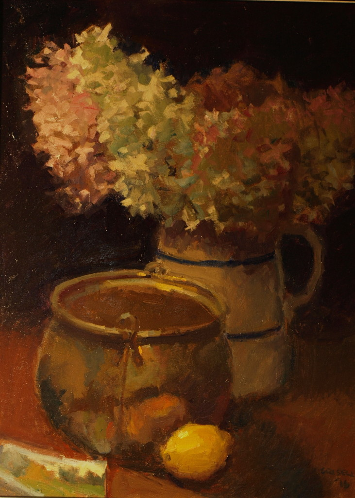 Hydrangeas, Oil on Canvas, 24 x 18 Inches, by Susan Grisell, $550