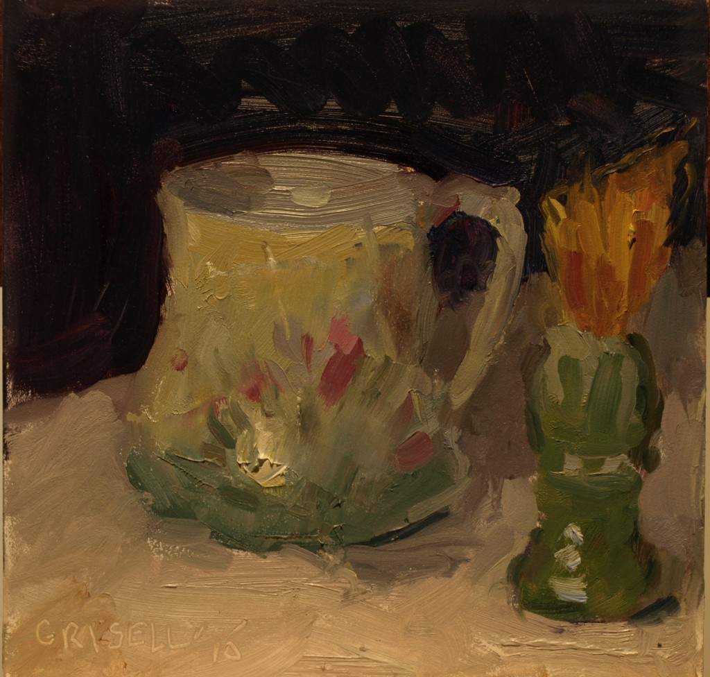 Mug with Shaving Brush, Oil on Panel, 6 x 6 Inches, by Susan Grisell, $150