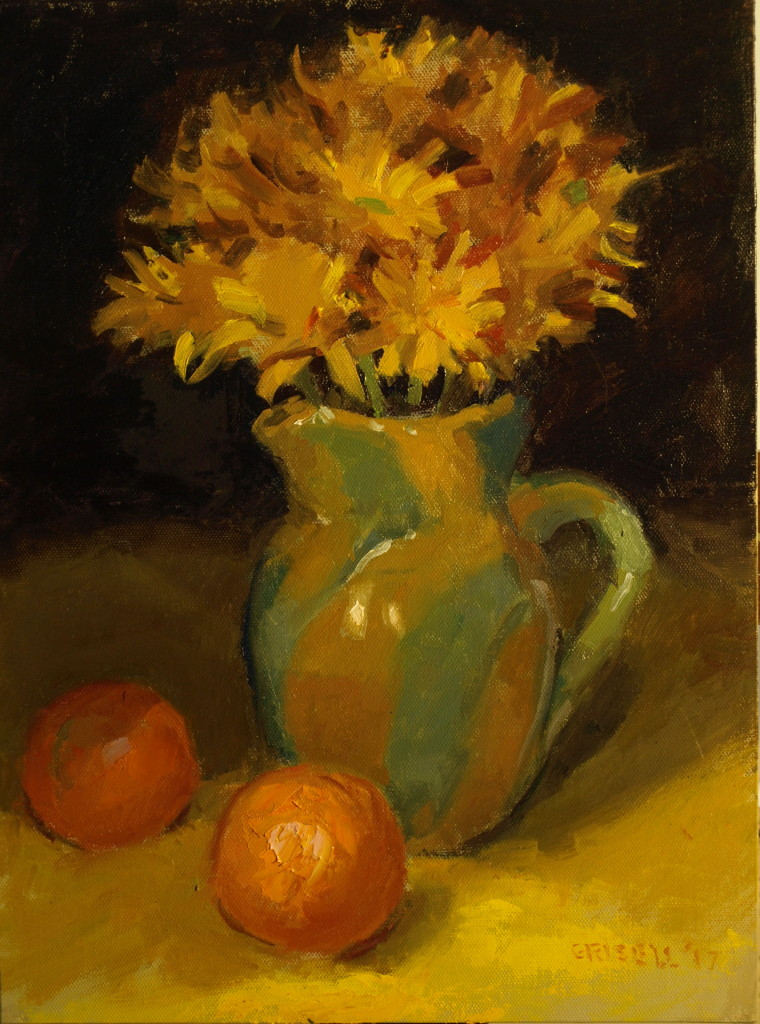 Ron's Flowers, Oil on Panel, 16 x 12 Inches, by Susan Grisell, $300
