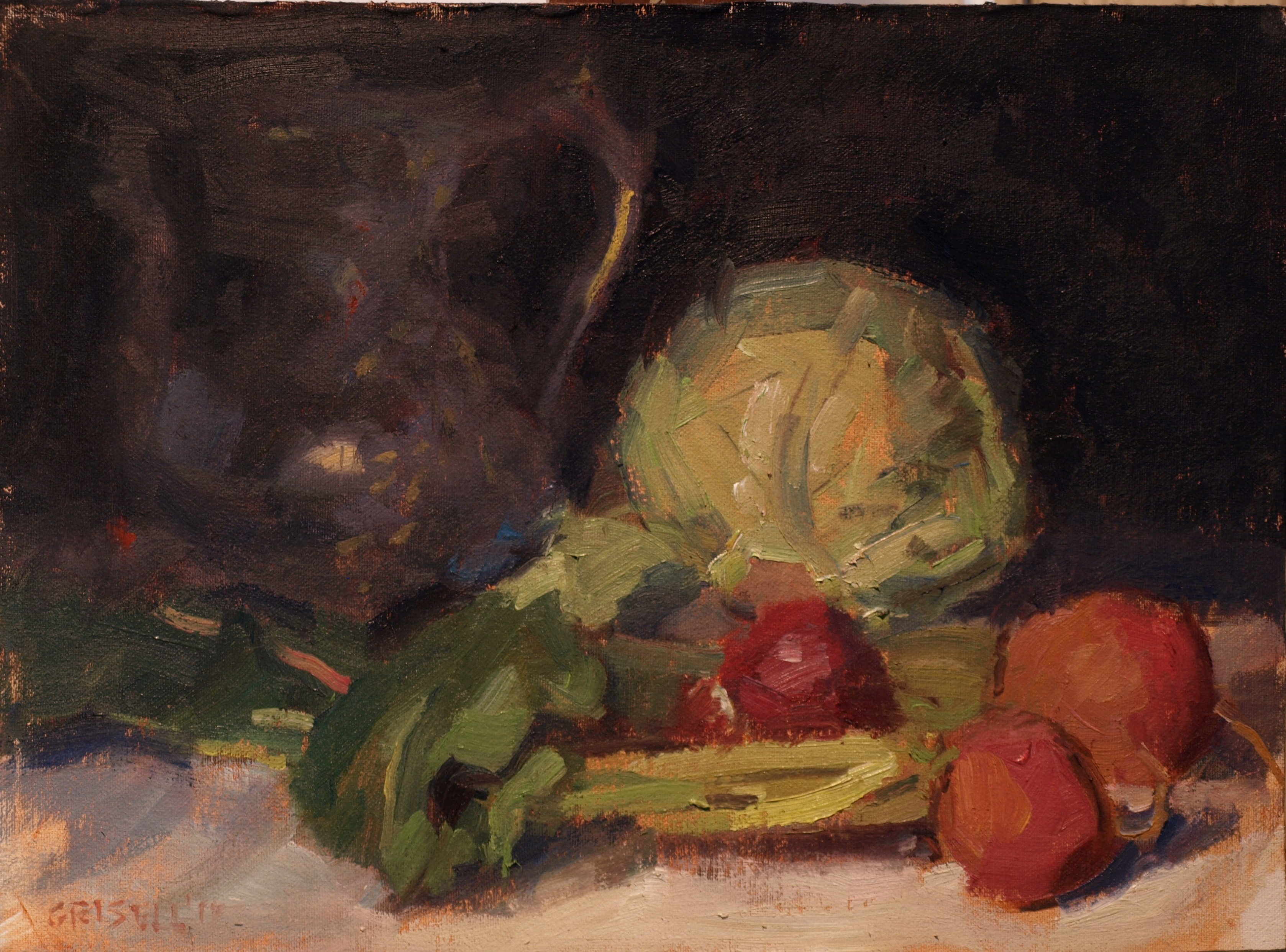 Cabbage and Beets, Oil on Canvas on Panel, 12 x 16 Inches, by Susan Grisell, $300
