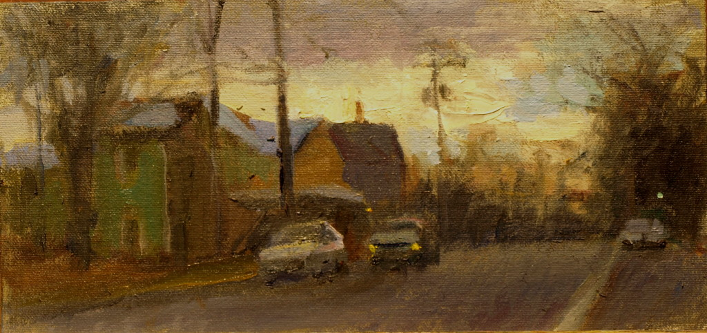 Late Afternoon - Kent, Oil on Canvas on Panel, 6 x 12 Inches, by Susan Grisell, $200
