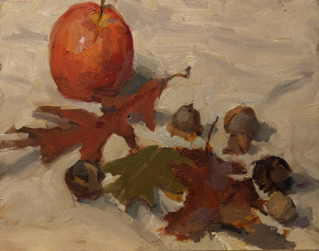 Apple Acorns Leaves, Oil on Panel, 8 x 10 Inches, by Susan Grisell, $200
