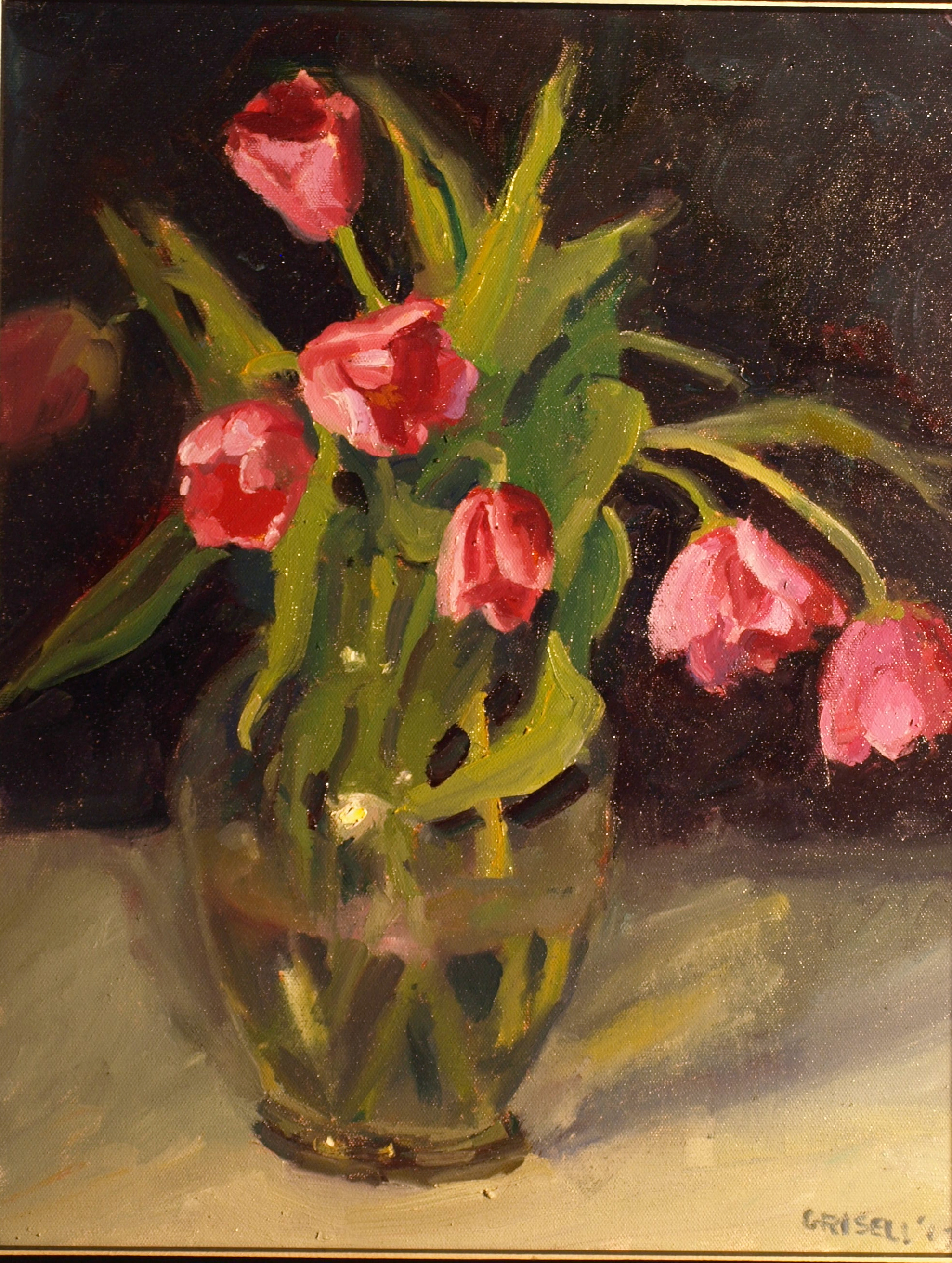 Pink Tulips, Oil on Canvas, 20 x 16 Inches, by Susan Grisell, $550