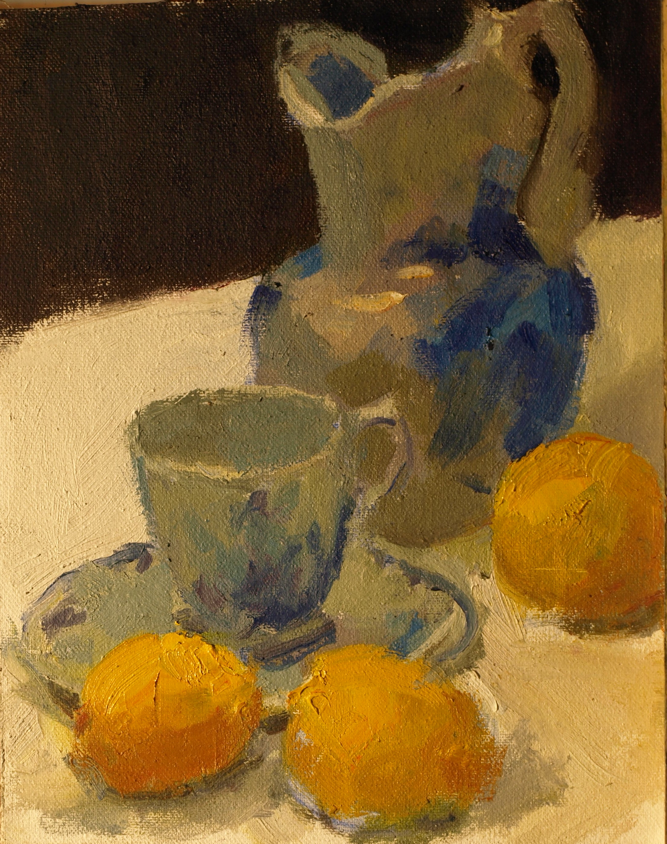 Blue White and Yellow, Oil on Canvas on Panel, 10 x 8 Inches, by Susan Grisell, $200