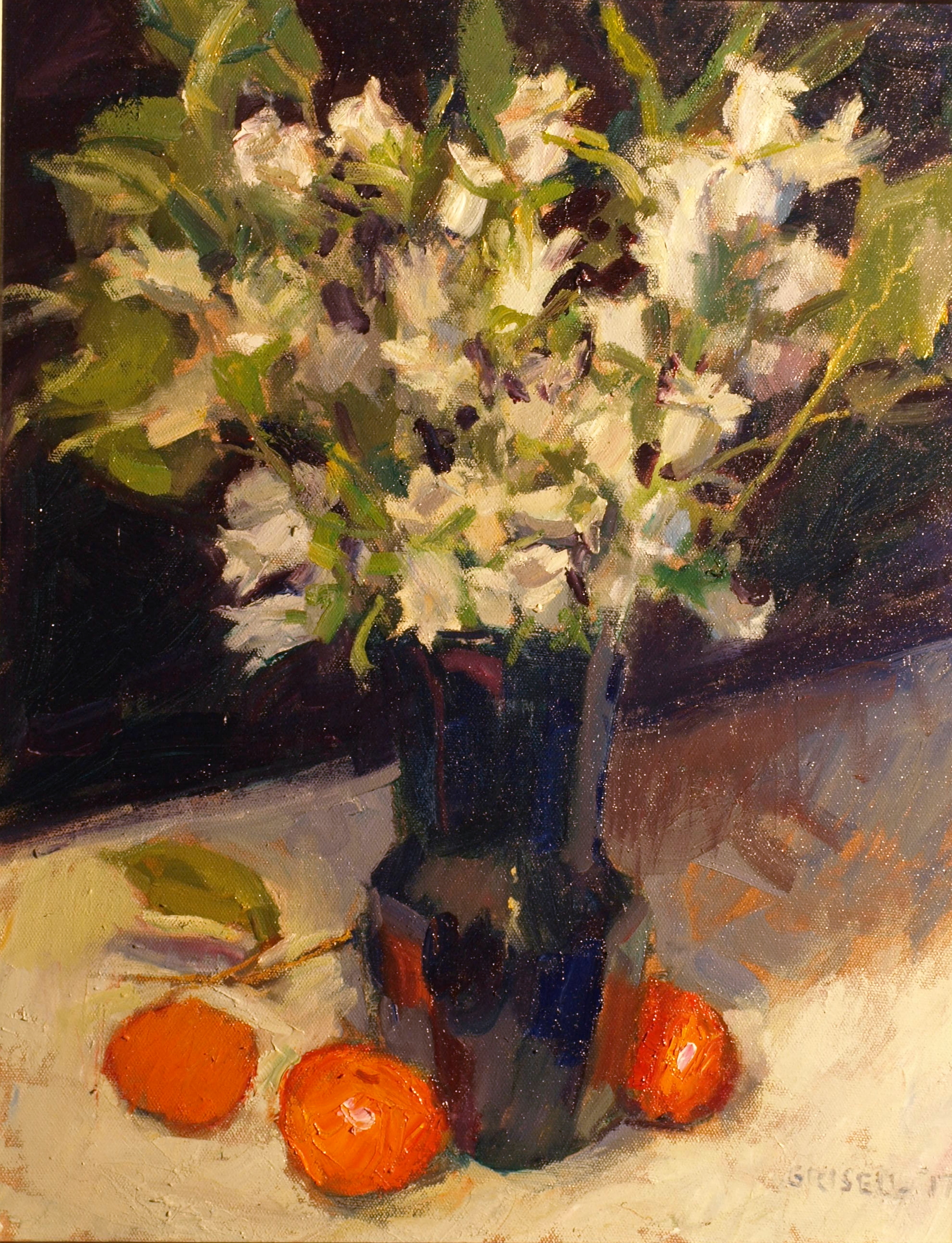 Campanula, Oil on Canvas, 20 x 16 Inches, by Susan Grisell, $550