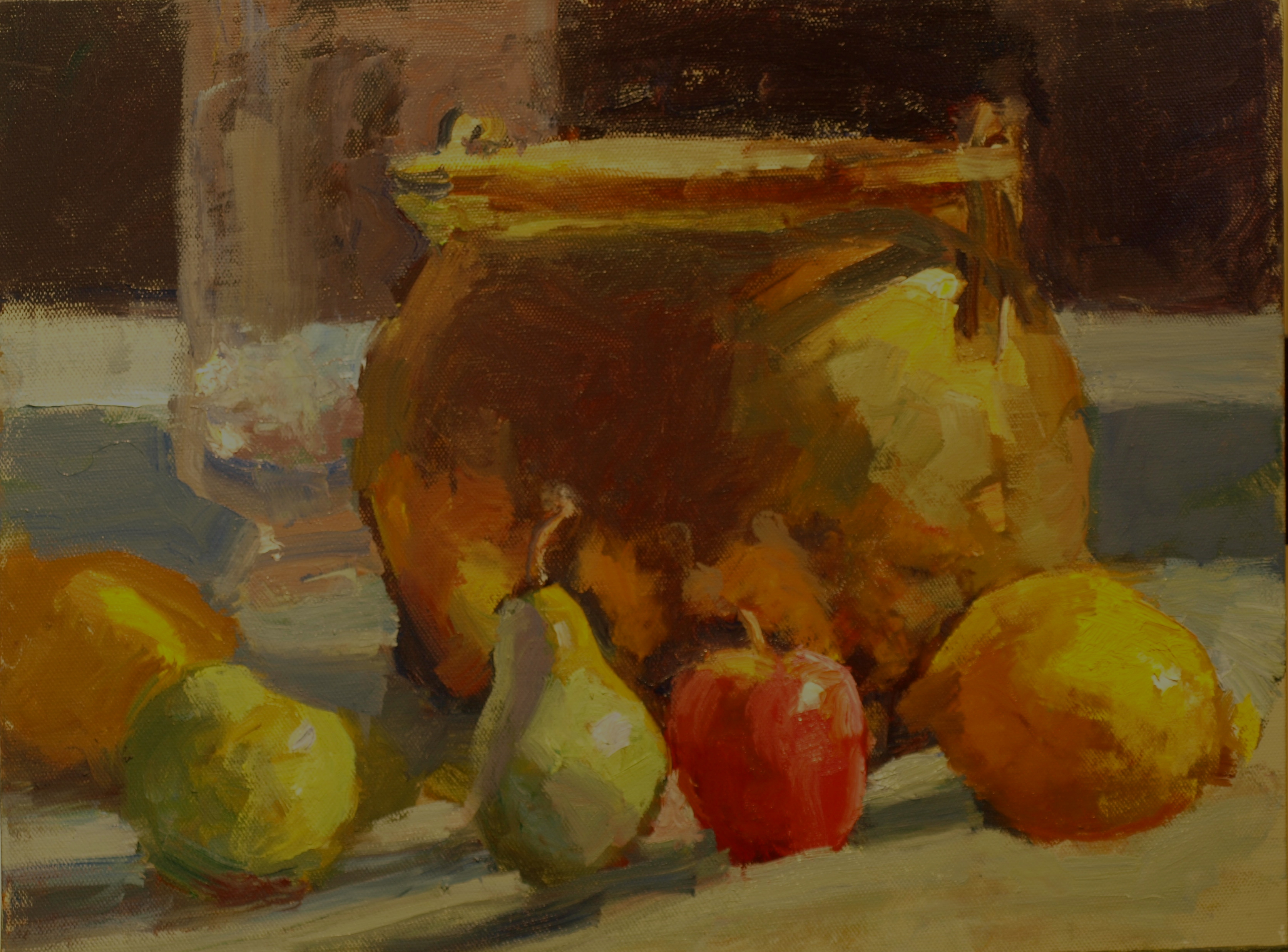 Glass and Brass, Oil on Panel, 12 x 16 Inches, by Susan Grisell, $275
