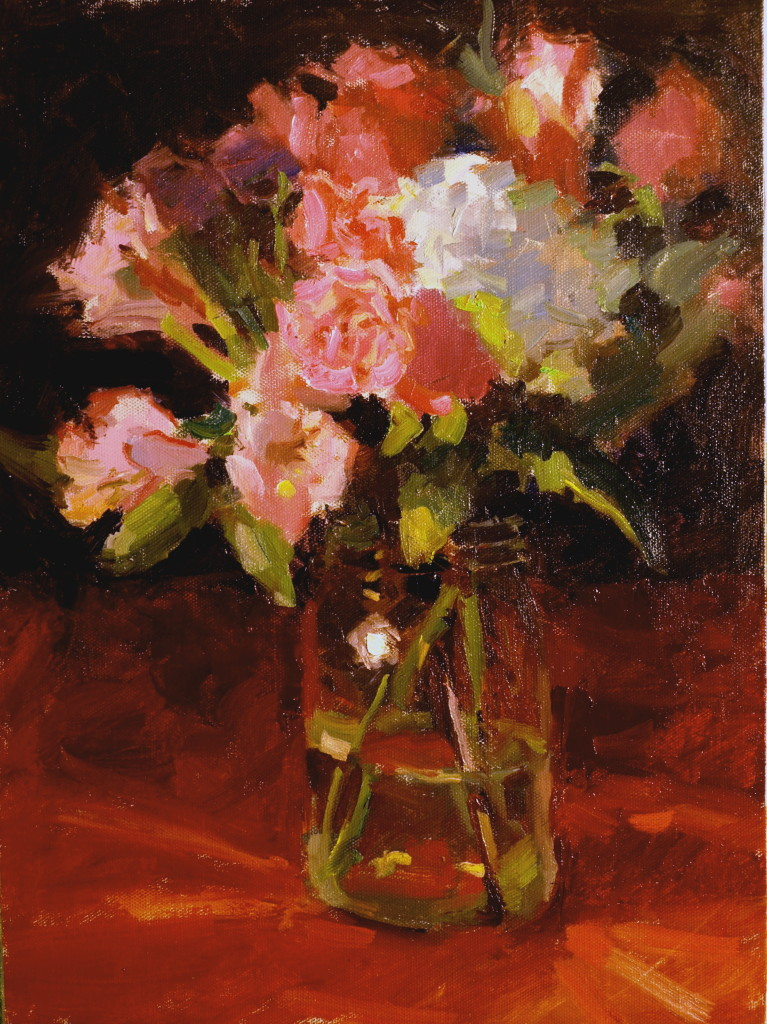 Amy's Bouquet, Oil on Panel, 16 x 12 Inches, by Susan Grisell, $300