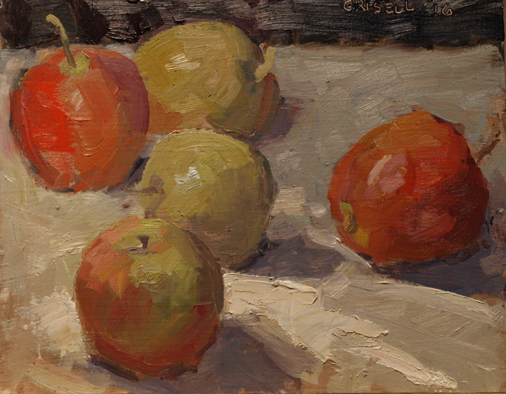 Apples, Oil on Panel, 8 x 10 Inches, by Susan Grisell, $200