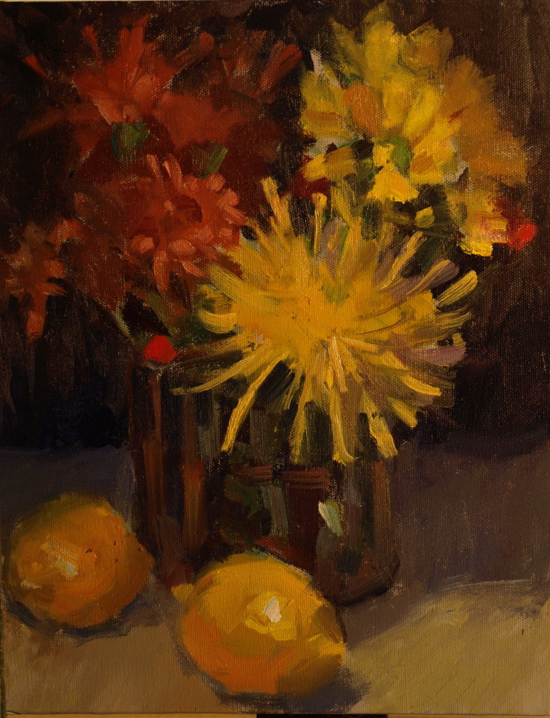 Lemons and Mums, Oil on Panel, 14 x 11 Inches, by Susan Grisell, $275
